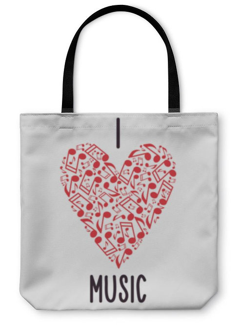 Tote Bag, Heart With Notes Musical Heart I Love Music