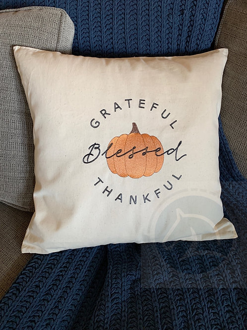 Grateful, Thankful, Blessed Fall Pillow