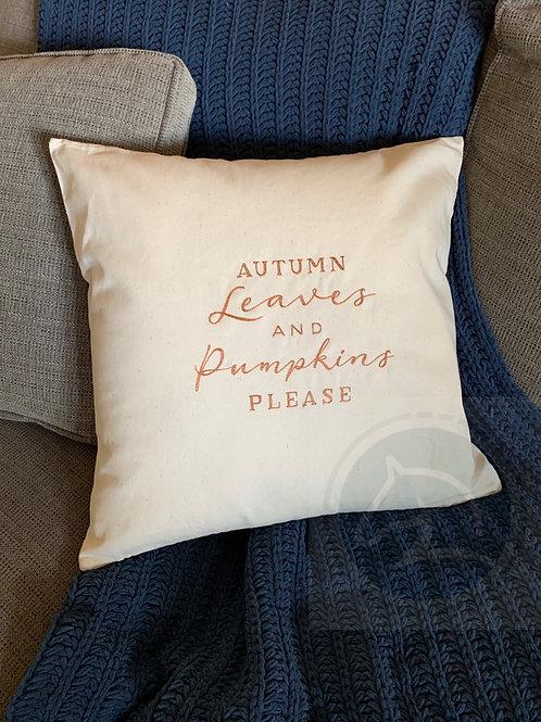 Autumn Leaves and Pumpkin Pillow
