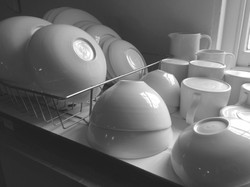 Hand thrown porcelain pots for use- washing up