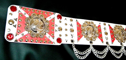 The Red and White Large Concho Belt