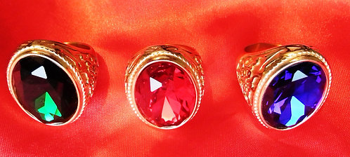 Ornate Carved Stone Ring - Ruby/Emerald/Sapphire