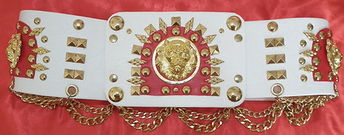 Red and White Arch Lion Head Belt