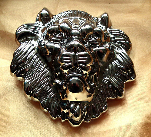 Large Silver Lion Head Buckle