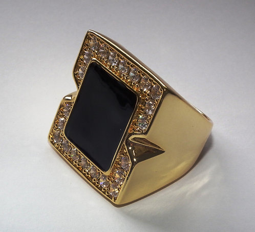 18ct Gold Plated Onyx Concert Ring