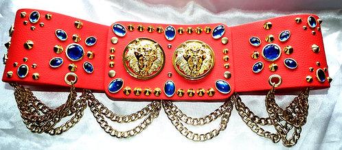 Blue Jewelled Double Lion Head Belt