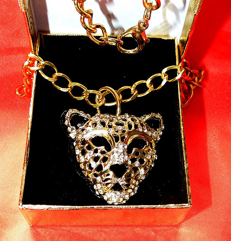 Gold and Diamond Panther Pendant