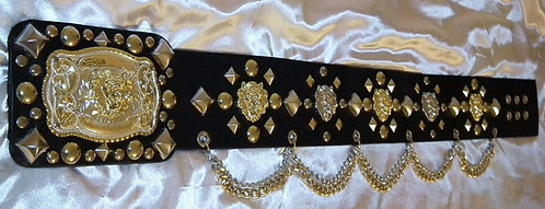 Square Studded Gold and Silver Lion Head Belt