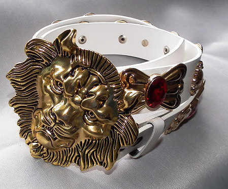Gold and Red Lion and Concho Belt