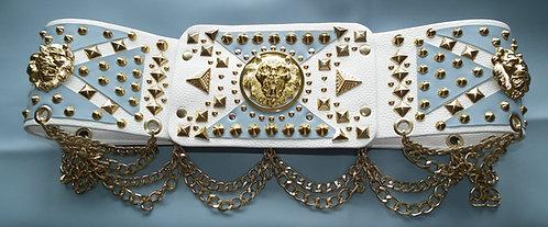 Elvis Style Powder Blue Belt in Gold or Silver