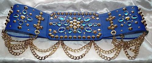 The Royal Blue & Gold Studded Belt