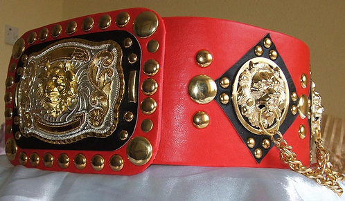 Red and Black Lion head Chain Belt