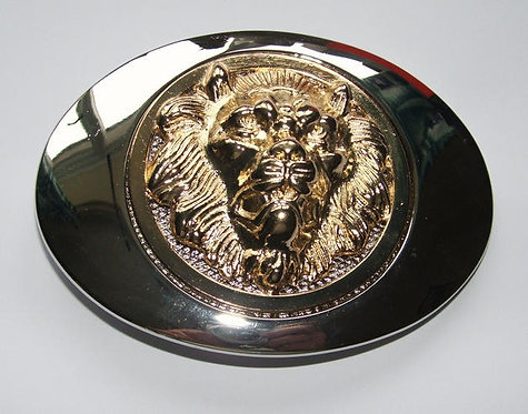 Silver and Gold Spinning Lion Head Buckle