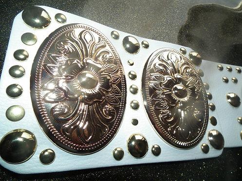 Gold Flower Oval Elvis Style Concert Belt