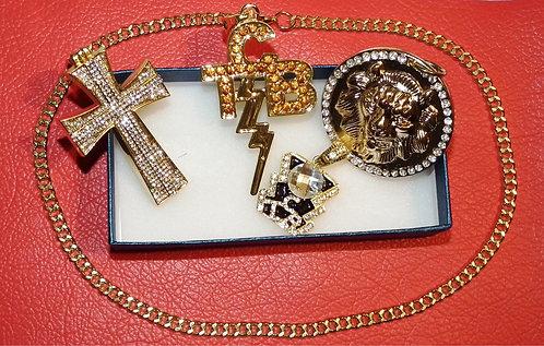 4 x Gold Pendant Set & Chain