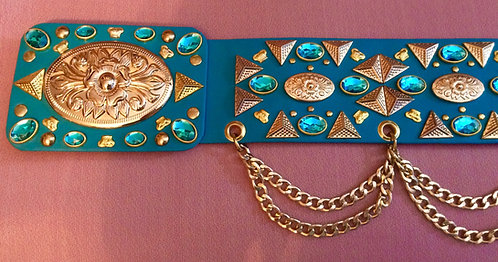 Elvis Style Spanish Floral Pyramid Belt - 39-41 inches