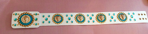 Elvis Style Turquoise Lion Head Nail Belt - 35-37 inches