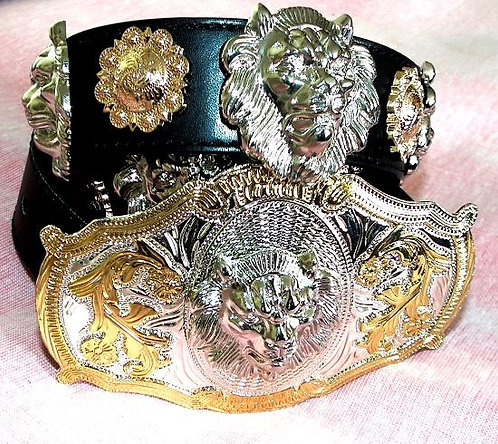 Silver Lion Head and Concho Belt