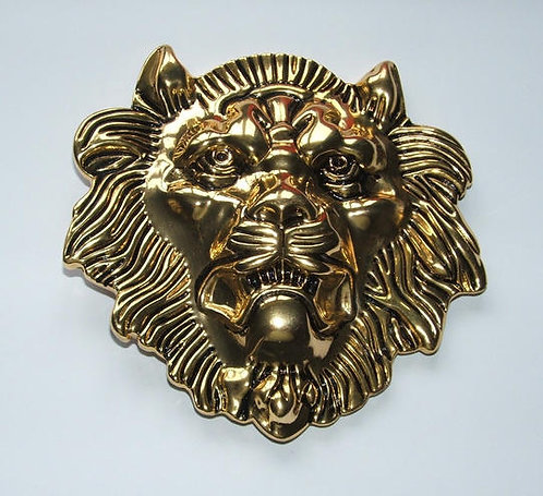 Large Gold Lion Head Buckle