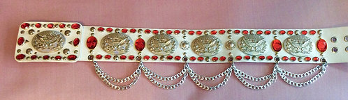 Silver and Ruby Elvis Style Flying Eagle Belt