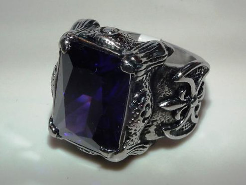 Silver Amethyst Square Stone Ring