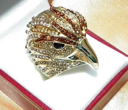 Large Gold Eagle Sparkle Ring