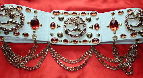 Gold and Ruby Elvis Style Running Man Belt