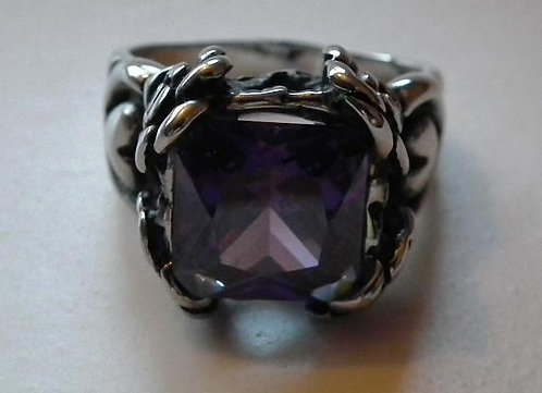 Silver and Amethyst Square Stone Ring