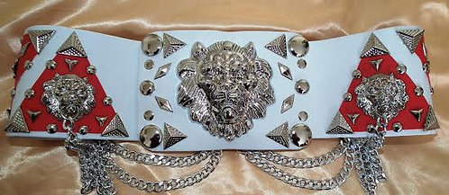 Silver Pyramid Lion Head Belt