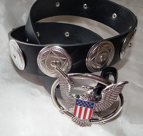 Silver Aloha and Concho Casual Belt