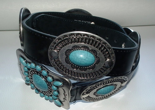 Elvis Style Indian Oval Concho Belt