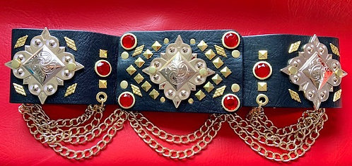 Elvis Style Pyramid and Ruby Concho Belt