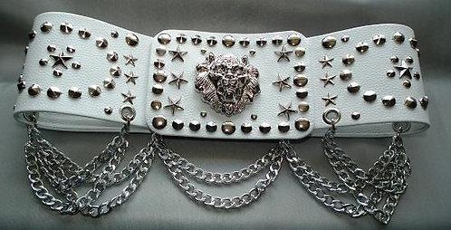 Silver Studded Lion Head Oval Belt