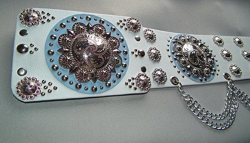 Elvis Style Ornate Powder Blue Concho Belt