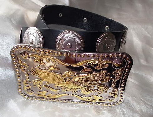Silver & Gold Flying Eagle and Concho Casual Belt