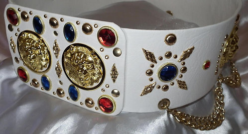 Red and Blue Jeweled Lion Head Belt