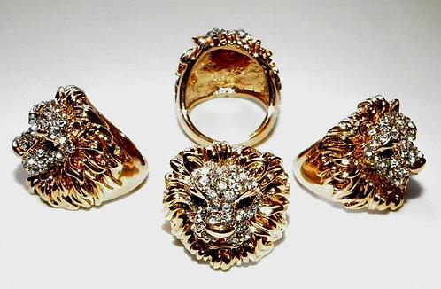 Jewel Encrusted Lion Ring