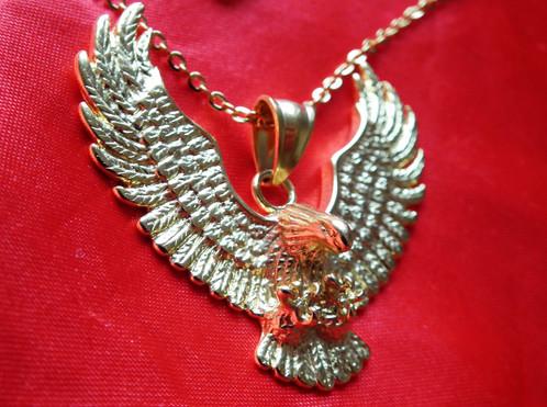 Gold flying eagle pendant on chain elvisbelts gold flying eagle pendant on chain aloadofball Images