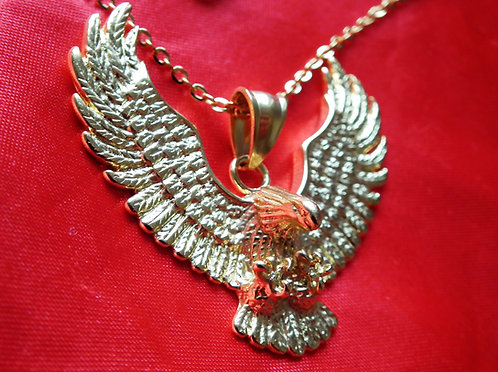 Gold Flying Eagle Pendant on Chain