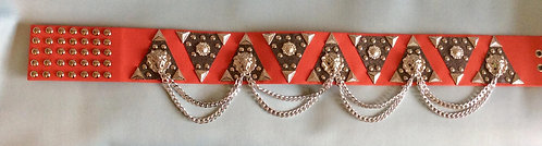Elvis Style Red and Sparkling Silver 'Thats the way it is' Belt - 41-43 inches