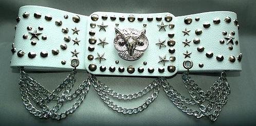 Silver Studded Owl Oval Belt
