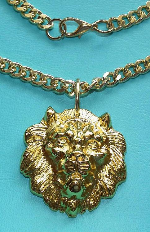 Golden Lion Head Pendant