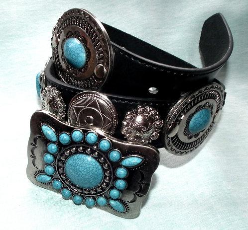 Elvis Style Turquoise Concho Belt