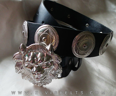 Silver Lion Head and Concho Casual Belt