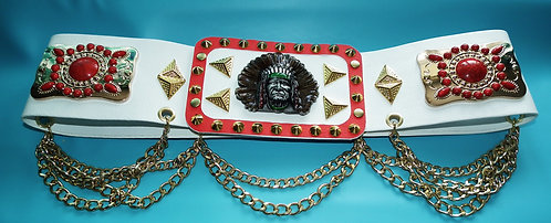 Red and Turquoise Navajo Indian Belt