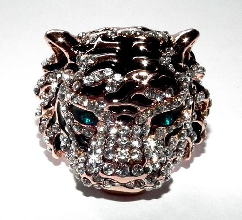 Rose Gold Silver Tiger Ring