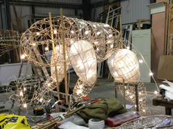 Puppets in construction with lights