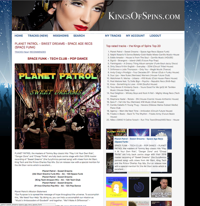 PLANET PATROL'S NEW SINGLE SWEET DREAMS DEBUTS AT NUMBER 1 ON KINGS OF SPINS