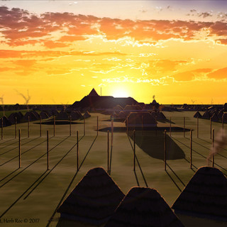 """Sunrise over Monks Mound from Woodhenge III circa 1000 CE"""