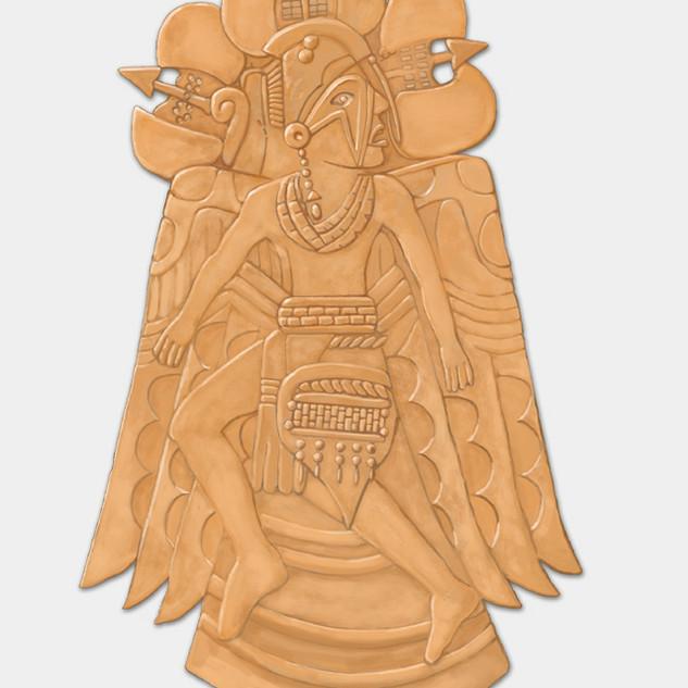 """Etowah Dancing Warrior repousse copper plate"""